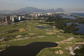 Aerial view of the Olympic Golf Course in Rio de Janeiro, Brazil, Monday, July 4, 2016. With the Olympics set to start on Aug. 5, the games and the city have been overshadowed by security threats, violence, the Zika virus and a national political corruption scandal. (AP Photo/Felipe Dana)