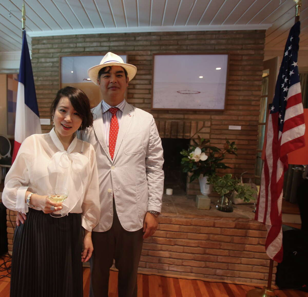 """Jane and French Consul General Sujiro Seam at the Consul General of France's """"Bastille Day"""" celebration."""
