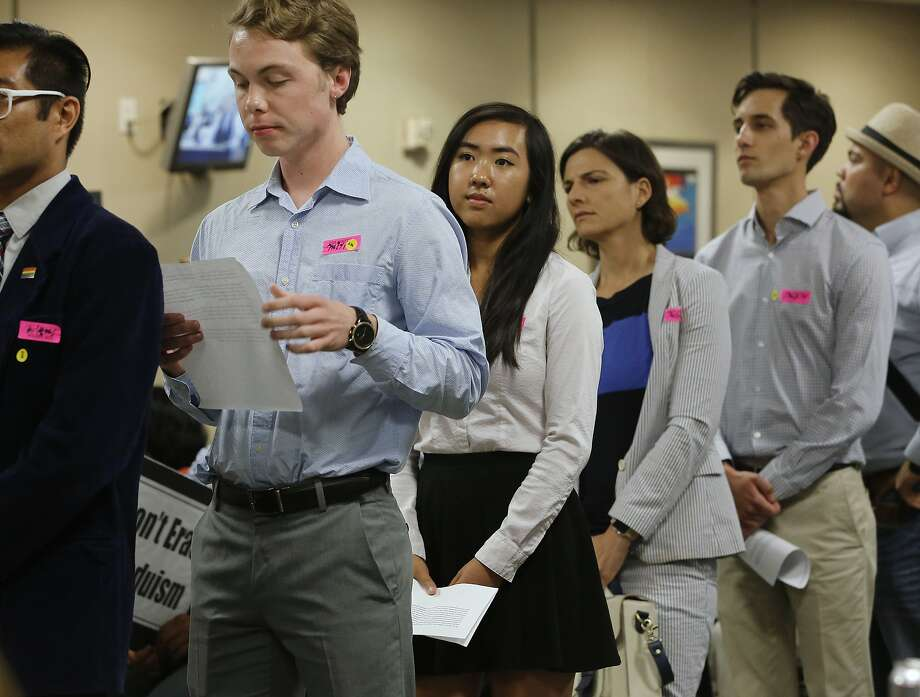 Allyson Chiu (center), who will be a senior at Cupertino High, waits to advocate LGBT curriculum to the state school board. Photo: Rich Pedroncelli, Associated Press