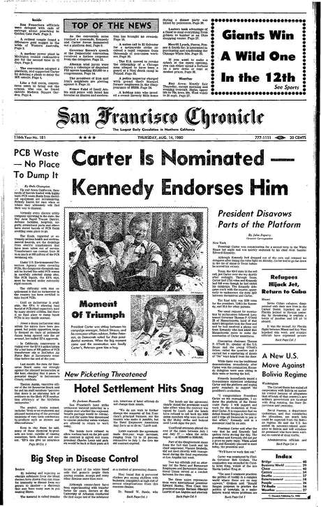 The Chronicle's front page from Aug. 14, 1980, covers the nomination of Jimmy Carter as the Democratic nominee for president for a second time. Photo: The Chronicle 1980