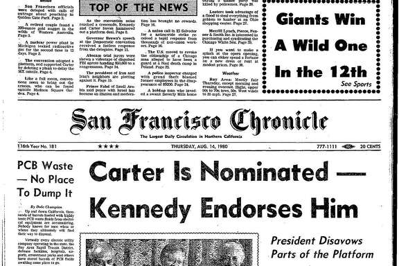 Historic Chronicle Front Page August 14, 1980  Jimmy Carter receives the Democratic nomination for president     Chron365, Chroncover