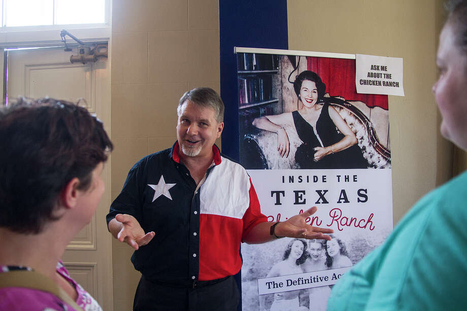 """Author Jayme Blaschke (center), chatting with (left to right) Kennedy Day and Melissa Reed before a matinee performance of the musical Best Little Whorehouse in Texas, at The Playhouse San Antonio, Sunday, July 10, 2016. Blaschke wrote the forthcoming non-fiction book """"Inside the Chicken Ranch,"""" which tells the true-life story that the musical is based on. Photo: Alma E. Hernandez / Alma E. Hernandez / For The San Antonio Express News"""