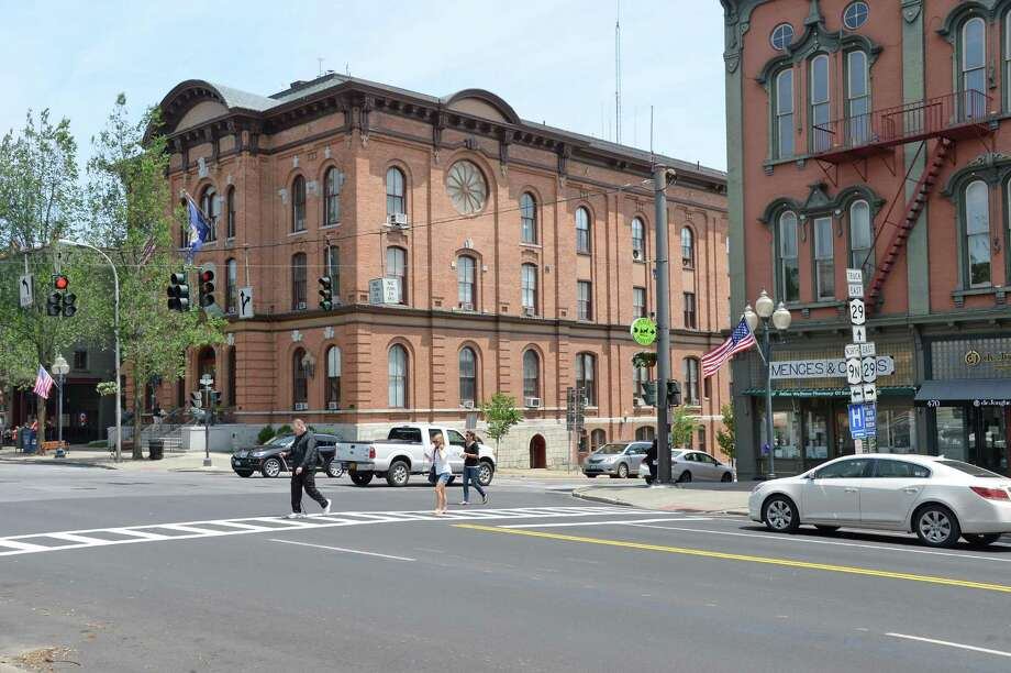 City Hall, center, on Broadway Thursday June 11, 2015 in Saratoga Springs, NY.  (John Carl D'Annibale / Times Union) Photo: John Carl D'Annibale / 00032049A