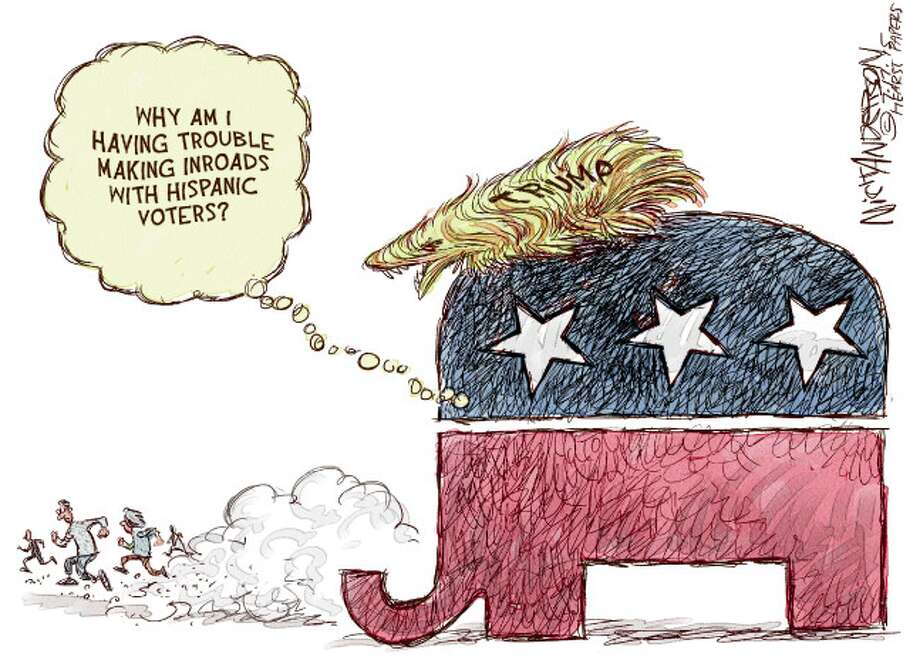 """Trump shoots to the top of the polls by labeling Mexicans """"rapists and murderers."""" But, """"some"""" are good people. Photo: Nick Anderson"""