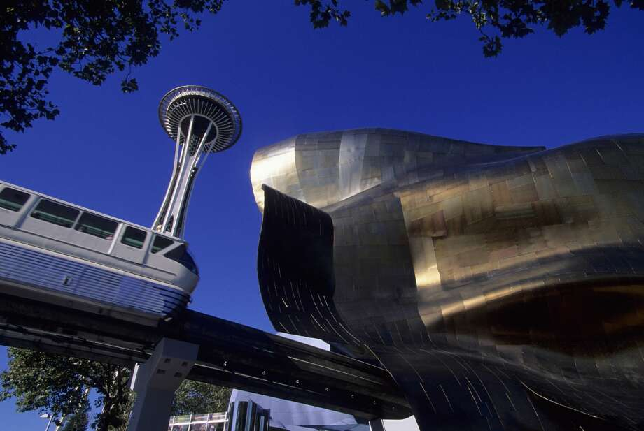 UNITED STATES - 2000/01/01: USA, Washington, Seattle, Seattle Center, Experience Music Project, Space Needle, Monorail. (Photo by Wolfgang Kaehler/LightRocket via Getty Images) Photo: Wolfgang Kaehler/LightRocket Via Getty Images