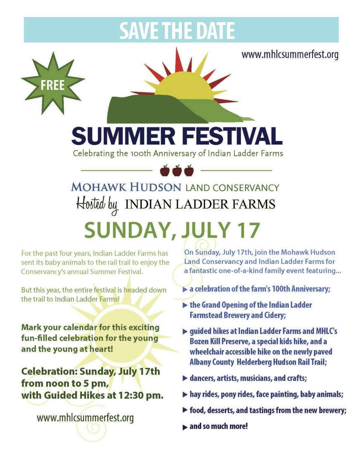 Flyer for Sunday, July 17 Summer Festival at Indian Ladder Farms in Altamont.