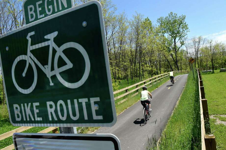 Bicyclists set off on their ride from the starting point of the Albany County Rail Trail by South Pearl Street on Wednesday, May 18, 2016, in Albany, N.Y. (Cindy Schultz / Times Union) Photo: Cindy Schultz / Albany Times Union