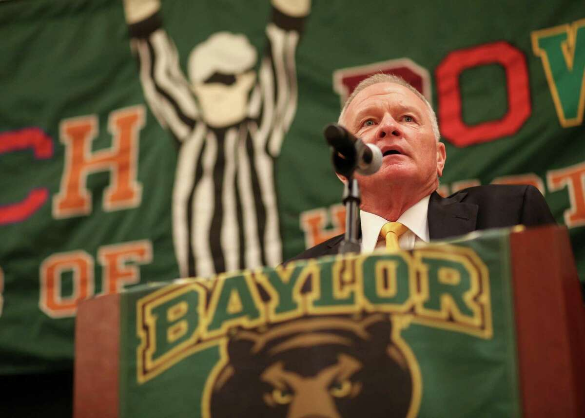 Interim coach Jim Grobe assures the Baylor faithful that the situation is improving while appearing in Houston on Thursday.
