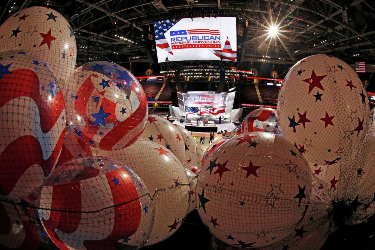 Balloons wait to be hoisted into the rafters of the Quicken Loans Arena as work continues for the Republican National Convention in Cleveland.