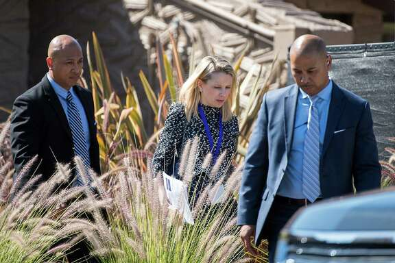 Marissa Mayer, president and CEO of Yahoo,  leaves the company's  shareholder  meeting in Santa Clara, Calif., last month.