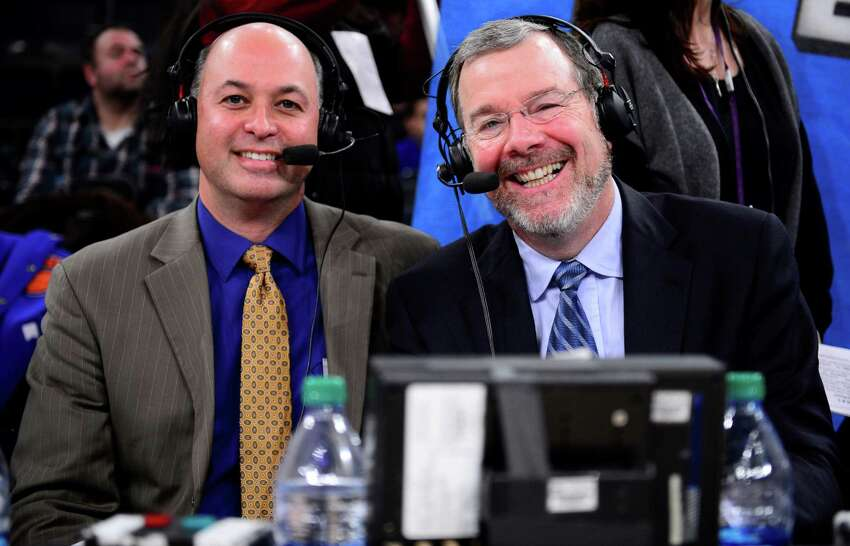 Marc Kestecher, left, sits with former NBA coach P.J. Carlesimo during an NBA broadcast. Kestecher, a Guilderland native who broadcast the Albany Patrioons for three seasons, has been named lead voice for the NBA on ESPN Radio, beginning with the 2016-17 season. (ESPN photo)