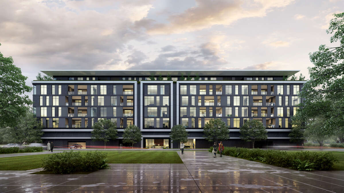 This artist's rendering shows the exterior of the Giorgetti Houston mid-rise in Upper Kirby. Giorgetti's Origami sideboard was the inspiration for the facade.