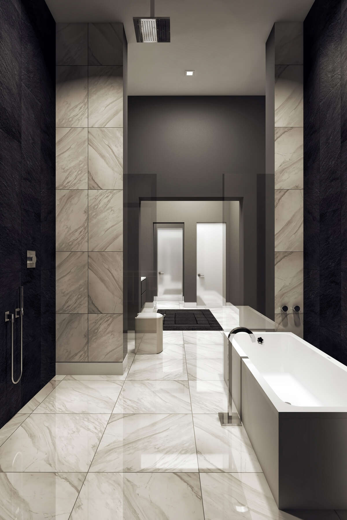 This artist's rendering of a Giorgetti Houston bathroom slows sleek contemporary design.