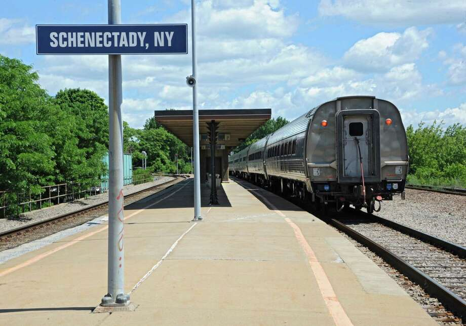 An Amtrak train from Albany departs the Schenectady Train Station Thursday, June 19, 2014 in Schenectady, N.Y. (Lori Van Buren / Times Union archive) Photo: Lori Van Buren / 00027443A