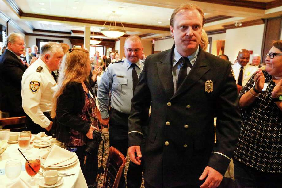 Marty Lancton (front), is president of Houston's fire union. Photo: Steve Gonzales, Houston Chronicle / © 2016 Houston Chronicle