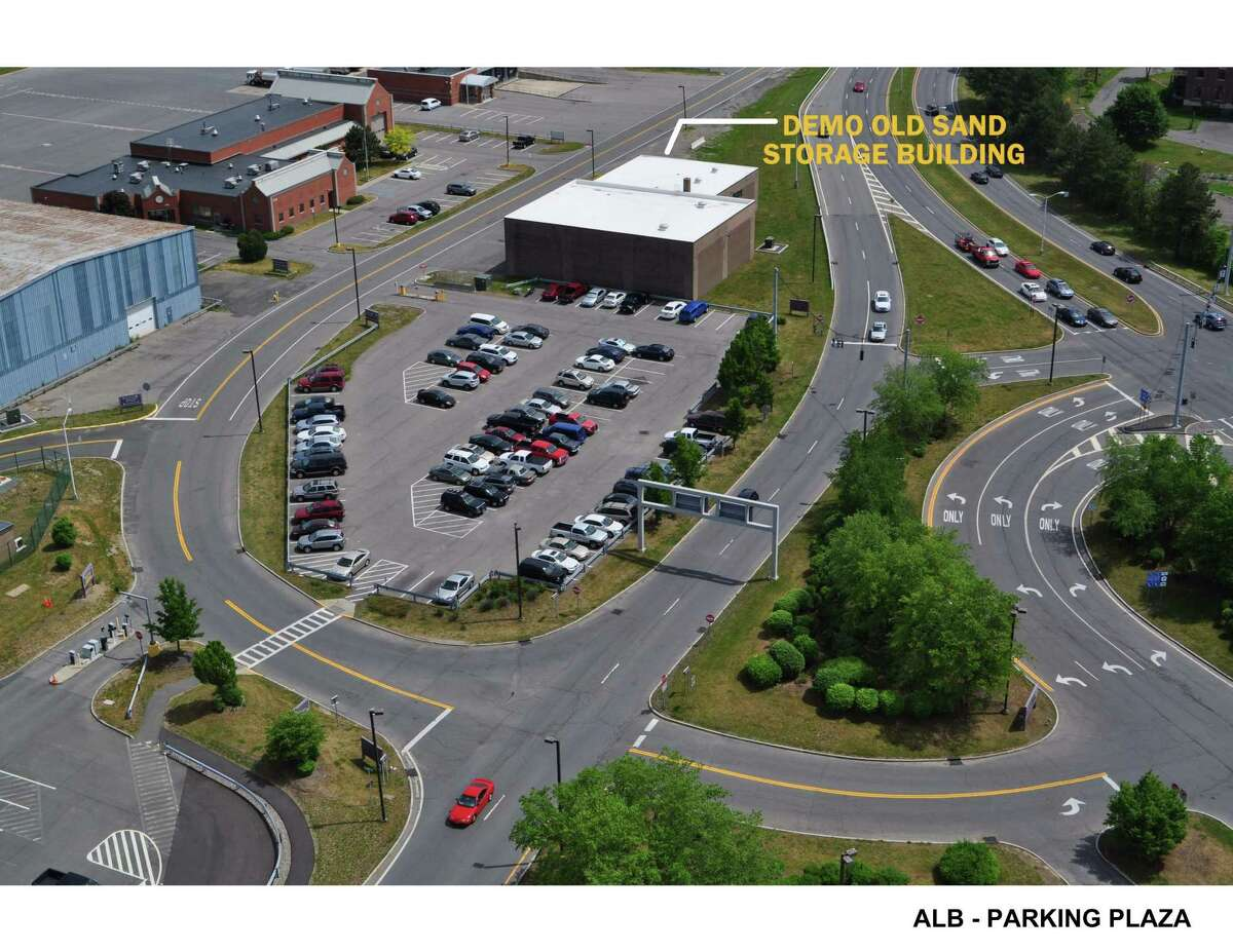 (Courtesy Albany International Airport) Rendering shows the removal of the old sand storage facility and the new parking garage addition as part of the $50 million expansion project at the Albany International Airport in Albany, N.Y.
