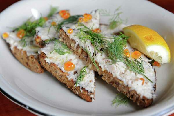 White fish crostini with trout and salmon roe, dill and pea shoots at Prairie Whale restaurant on Thursday, July 7, 2016 in Great Barrington, M.A. (Lori Van Buren / Times Union)