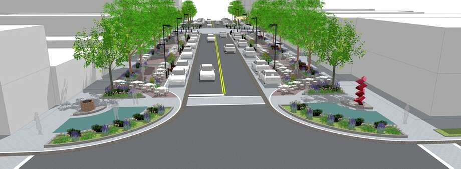 A rendering of what Ashman Street could look like provided during a presentation to the Downtown Development Authority board by project designers SmithGroupJJR, MKSK and DLZ of Michigan.