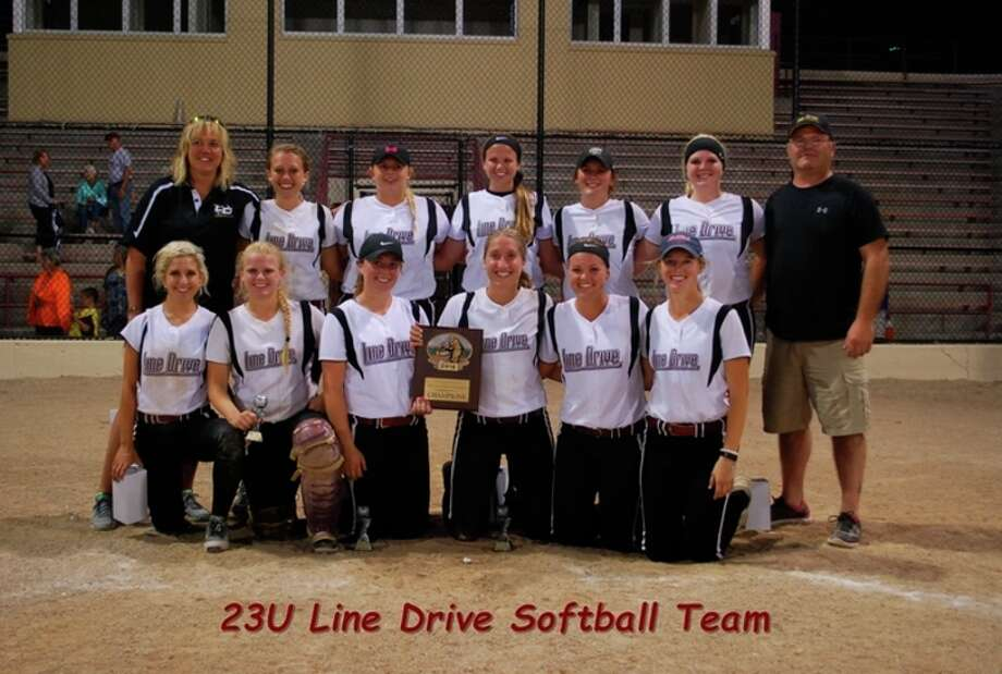 photo provided Members of the Line Drive Express 23U softball team which won its own Grand Slam Tournament championship in Midland recently and qualified for the NSA World Series in the process are (front, from left) Kelcie Juhas, Beth Stroup, Alyssa Westphal, Blake Garner, Aubree Mouthaan, Sam Willman; and (back, from left) head coach Jamie Smith, Taylor Smith, Jessica England, Laureen Mead, Lyndsay Hill, Bre Dinsmoore, and assistant coach Bill Dinsmoore.
