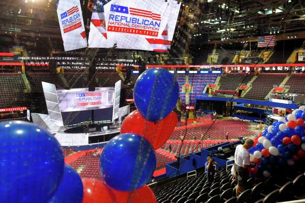 Workers install balloons in preparation for the Republican National Convention at Quicken Loans Arena, Friday, July 15, 2016, in Cleveland, Ohio.