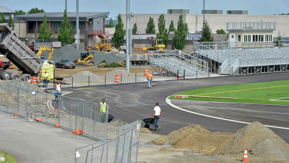 HVCC's new outdoor athletics complex takes shape, including a state-of-the-art turf field with grandstand seating,bleachers, scoreboard and lighting Friday July 15, 2016 in Troy, NY. (John Carl D'Annibale / Times Union)