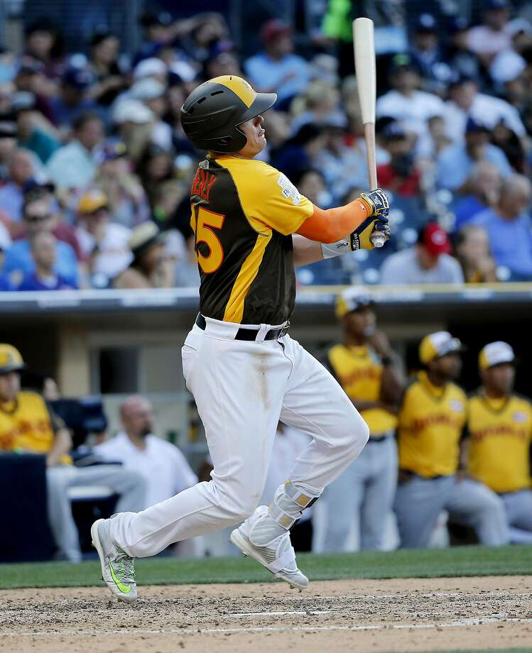 U.S. Team's Ryon Healy, of the Oakland Athletics, hits against the World Team during the seventh inning of the All-Star Futures baseball game, Sunday, July 10, 2016, in San Diego. (AP Photo/Lenny Ignelzi) Photo: Lenny Ignelzi, Associated Press