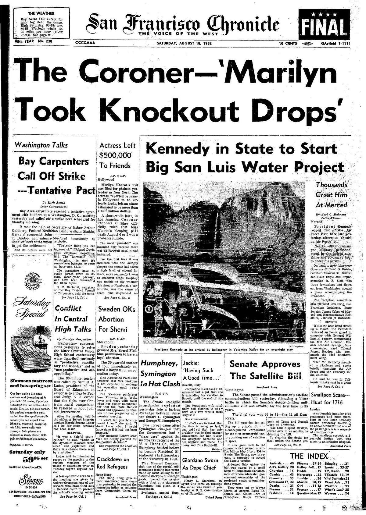 Historic Chronicle Front Page August 18, 1962 President John F. Kennedy visits Yosemite and Coroner reports on Marilyn Monroe's death, Chron365, Chroncover