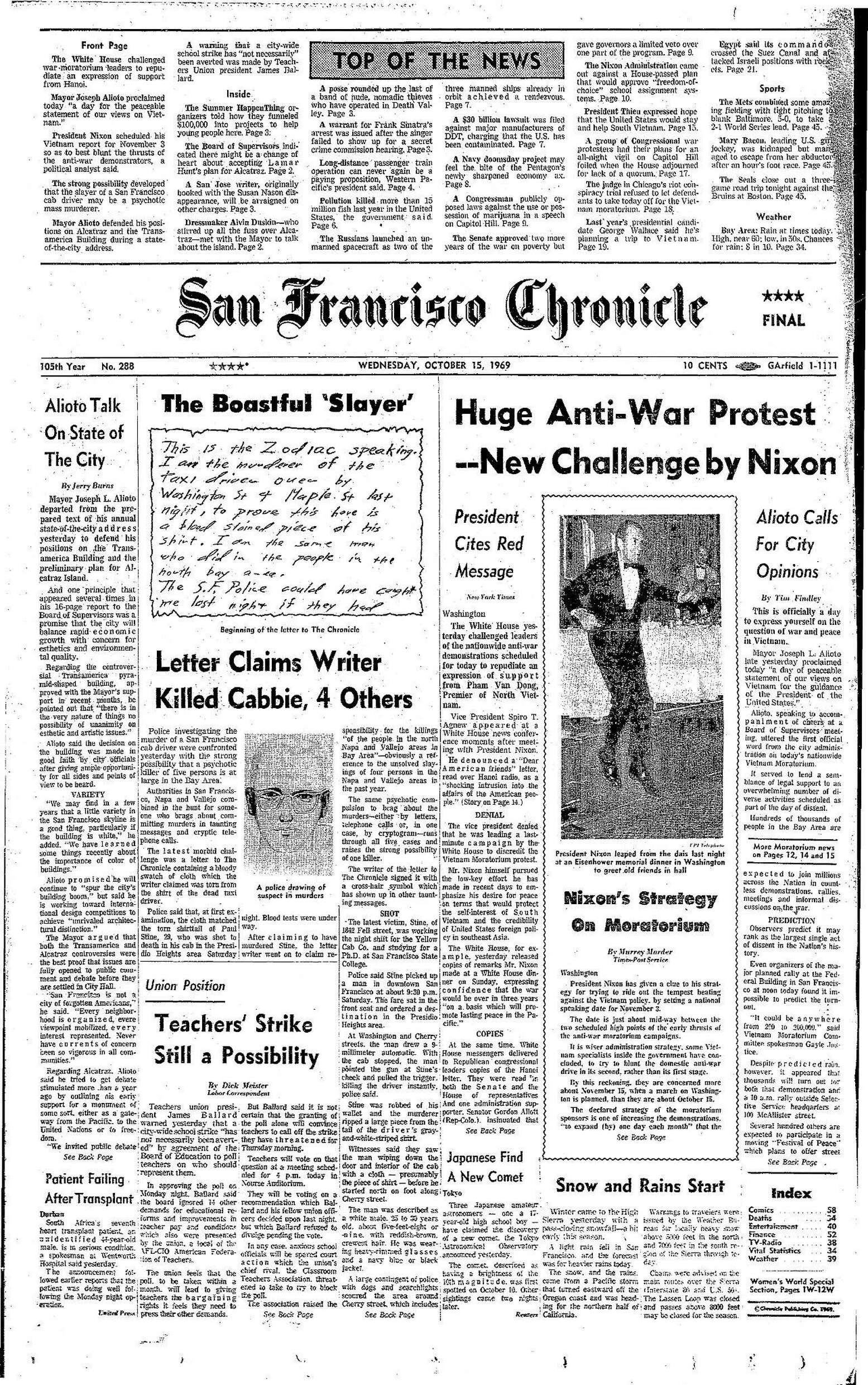 """Chronicle Covers: When the Zodiac killer wrote to the newsroom"" 2480x2480"