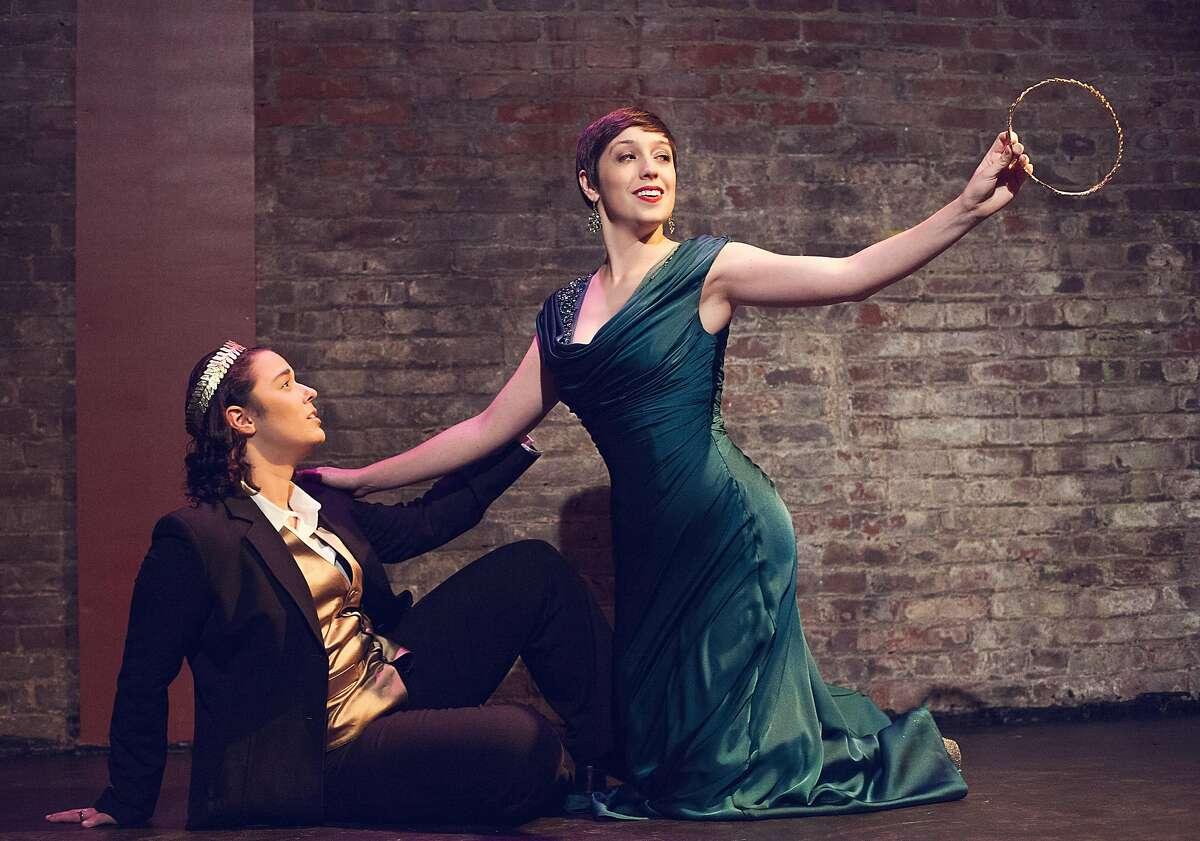 """Marissa Simmons (l.) as Nerone and Danielle Cheiken as Poppea in Opera Theater Unlimited production of Monterverdi's """"L'Incoronazione di Poppea"""""""