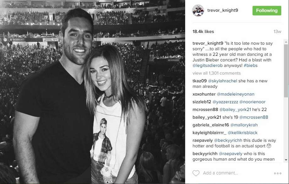 "Are San Antonio native Trevor Knight and Duck Dynasty Star Sadie Robertson dating? Robertson's camp has ""no comment,"" but photos tell all. Photo: Instagram"