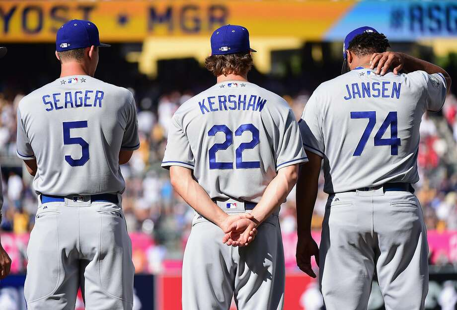 SAN DIEGO, CA - JULY 12:  (L-R) Corey Seager #5 of the Los Angeles Dodgers, Clayton Kershaw #22, and Kenley Jansen #74 stand on the field prior to the 87th Annual MLB All-Star Game at PETCO Park on July 12, 2016 in San Diego, California.  (Photo by Harry How/Getty Images) Photo: Harry How, Getty Images