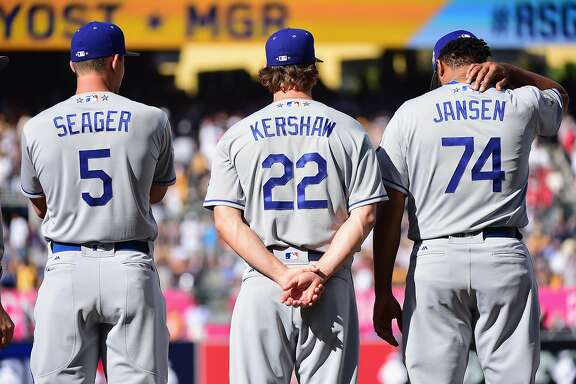 SAN DIEGO, CA - JULY 12:  (L-R) Corey Seager #5 of the Los Angeles Dodgers, Clayton Kershaw #22, and Kenley Jansen #74 stand on the field prior to the 87th Annual MLB All-Star Game at PETCO Park on July 12, 2016 in San Diego, California.  (Photo by Harry How/Getty Images)
