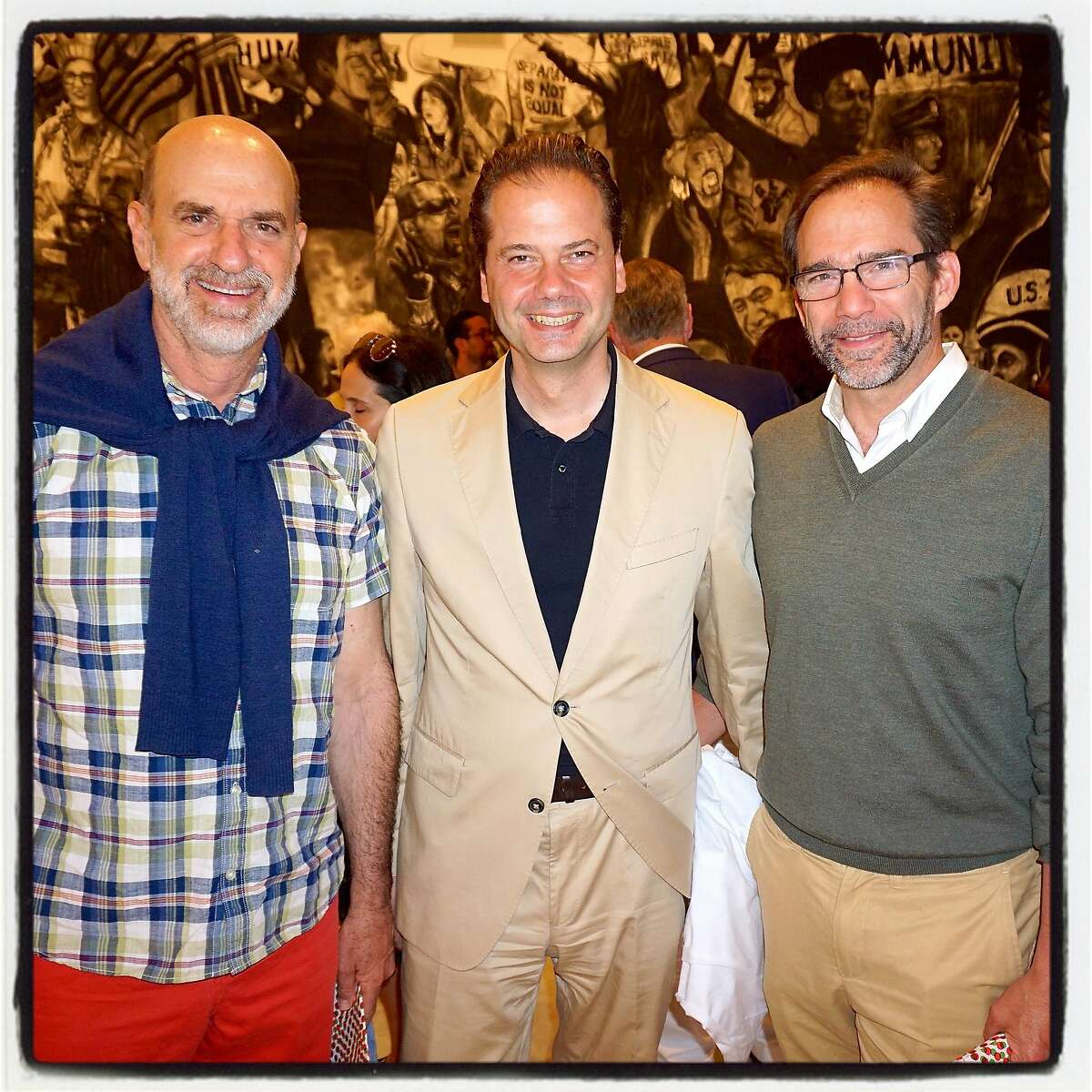 Museum poobahs (from left) SFMOMA Board president Bob Fisher, FAM Director Max Hollein and BAMPFA Director Larry Rinder at Stonescape. July 2016.