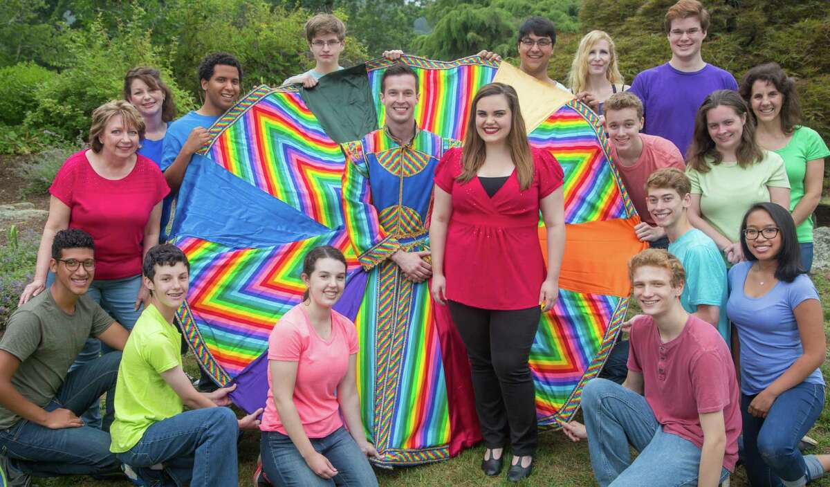 Connor Spain, of Bethel, and Katie Cummings, of Newtown, center, take on the leading roles of Joseph and the Narrator in