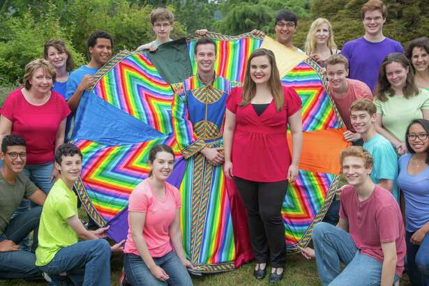 "Connor Spain, of Bethel, and Katie Cummings, of Newtown, center, take on the leading roles of Joseph and the Narrator in ""Joseph and the Amazing Technicolor Dreamcoat,"" playing Friday, July 22, through Saturday, Aug. 6, at Musicals at Richter in Danbury."