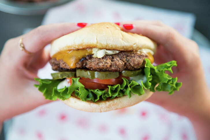"""The """"Classic"""" burger with cheese from the Burger Joint in Montrose."""