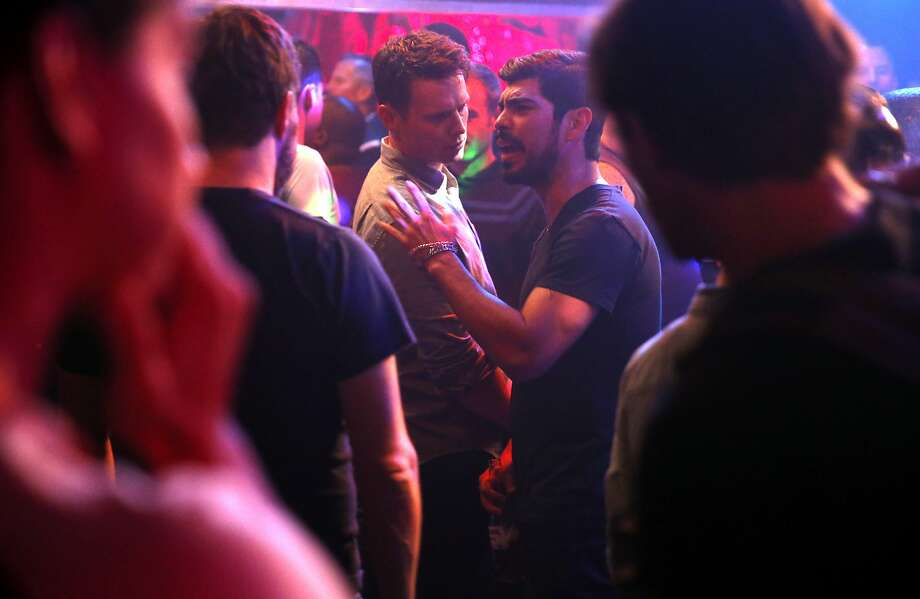 Raúl Castillo (second from right) rehearses with Jonathan Groff at the Stud bar in San Francisco. Photo: Scott Strazzante, The Chronicle