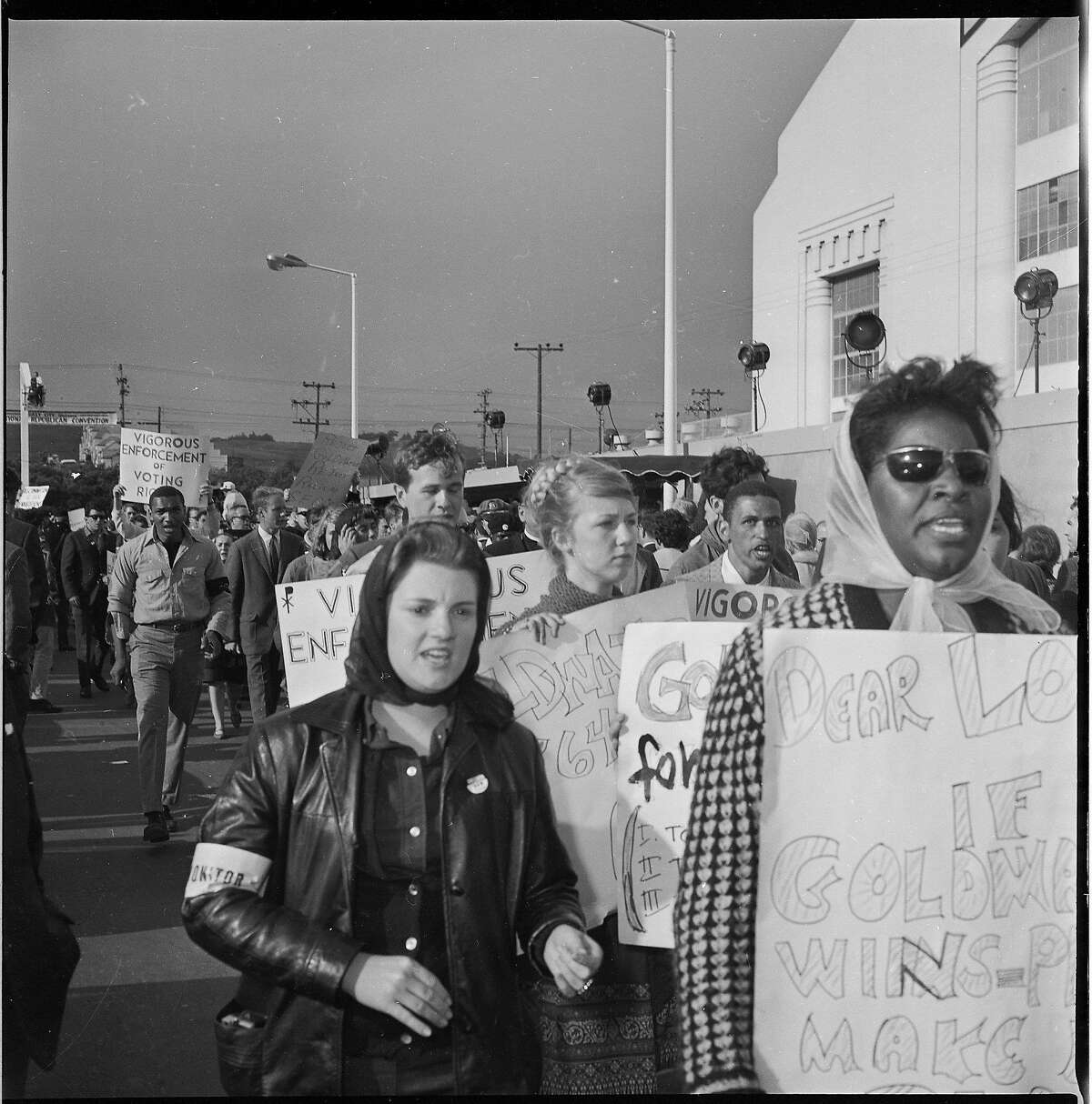 Civil Rights protesters at the opening day of the 1964 Republican National Convention at the Cow Palace, July 13 1964