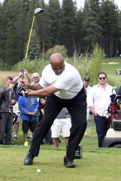 Hall of Famer and television analyst Charles Barkley tees off on the second hole during the American Century Championship celeb-am round at Edgewood Tahoe Golf Course, Thursday, July 19, 2012, in Stateline, Nev. (AP Photo/The Tahoe Tribune, Joe Proudman) Photo: Joe Proudman, AP