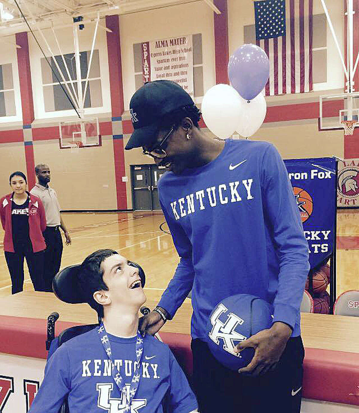 Seth Barnett and his friend and classmate at Cylakes High school De'Aaron Fox, who is now a University of Kentucky Kentucky Wildcat player. De'Aaron Fox will play his first game for the Wildcats starting this basketball season.