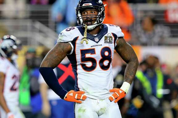 Broncos outside linebacker Von Miller, who was picked second overall in the 2011 draft out of Texas A&M, has 60 career sacks over five seasons in the NFL.