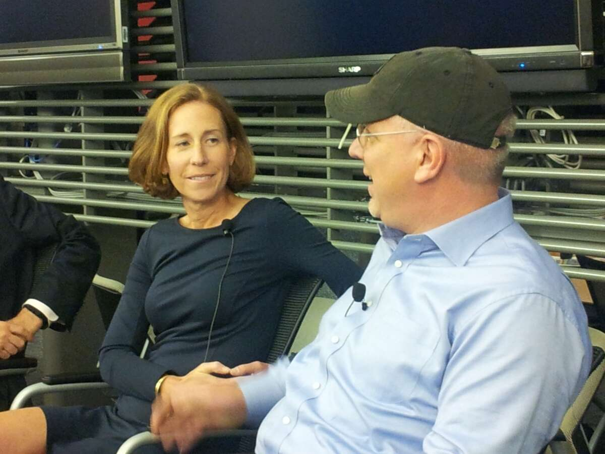 Betsy Morgan, left, with radio host Glenn Beck. Morgan, who led Beck's internet venture TheBlaze from 2011 to 2015, is the CommerceHub board of directors as the company goes public. Morgan is currently executive-in-residence with LionTree, a boutique New York City investment bank that advised Charter Communications in its purchase of Time Warner Cable.
