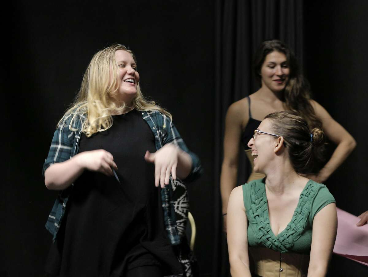 The Breadbox artistic director Ariel Craft, left, works with actors Kirsten Peacock, right rear, and Maria Giere Marquis, right front, during rehearsal for The Awakening at the Exit Theater in San Francisco, Calif., on Thursday, July 14, 2016.