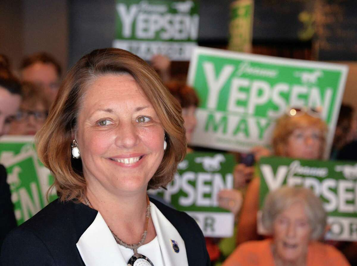 Saratoga Springs Mayor Joanne Yepsen announces her re-election campaign at a news conference Thursday May 28, 2015 in Saratoga Springs, NY. (John Carl D'Annibale / Times Union)