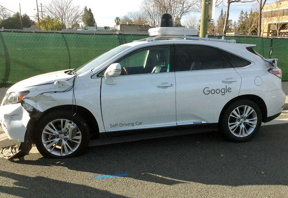 A self-driving Lexus SUV, operated by Alphabet, collided with a public bus in Mountain View. Photo: AP