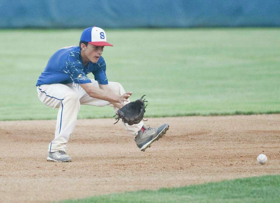 Stamford's David Collazzo lines up a ground ball in the Babe Ruth 13U state championship game against Waterford at Cubeta Stadium in Stamford on Friday. Photo: Scott Mullin / For Hearst Connecticut Media / The News-Times Freelance