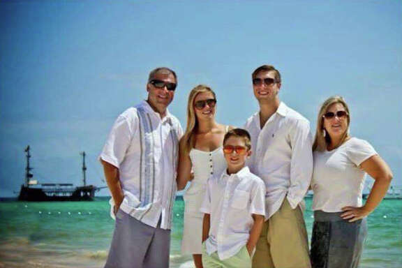 Sean Copeland, left, and his son Brodie, center, were among 84 victims slain in a terror attack in Nice, France. They were on vacation with Maegan, Austin and Sean's wife Kim, on right. The family traveled to Spain and then to France.