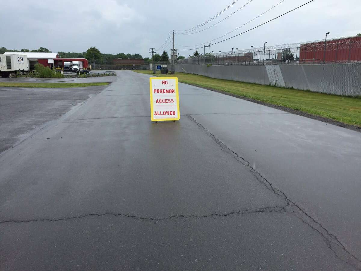 A sign prohibiting gamers from playing Pokemon Go at Mohawk Correctional Facility in Rome Friday, July 15, 2016.