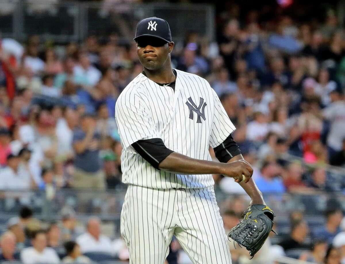 NEW YORK, NY - JULY 15: Michael Pineda #35 of the New York Yankees reacts after giving up a two run home run in the fifth inning to Travis Shaw of the Boston Red Sox at Yankee Stadium on July 15, 2016 in the Bronx borough of New York City. (Photo by Elsa/Getty Images) ORG XMIT: 607681497