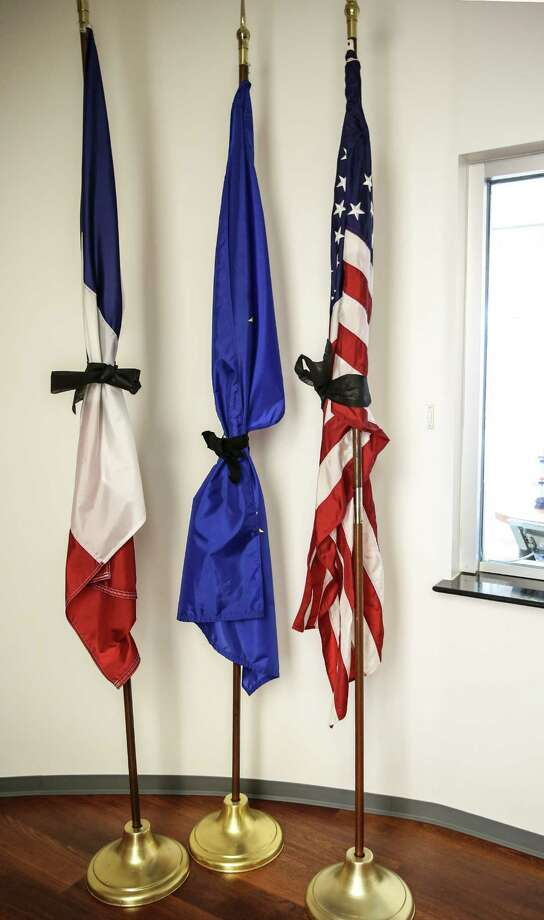 Flags at the French Consulate office in Houston office on Friday, July 15, 2016. Photo: Elizabeth Conley, Houston Chronicle / © 2016 Houston Chronicle